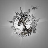 Diamond with airplane traveling around the world — Stock Photo