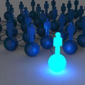 3d light growing human social network and leadership — Stock Photo