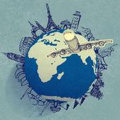 Самолет, путешествия по всему миру — Стоковое фото