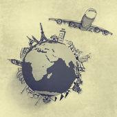 Vliegtuig reizen rond de wereld — Stockfoto