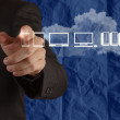 Businessman hand working with a Cloud Computing diagram on blue — Stock Photo #32162545