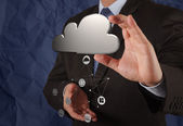 Businessman working with Cloud Computing diagram on the new comp — Stock Photo