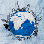 Crumpled paper and traveling around the world as vintage style — Stock Photo