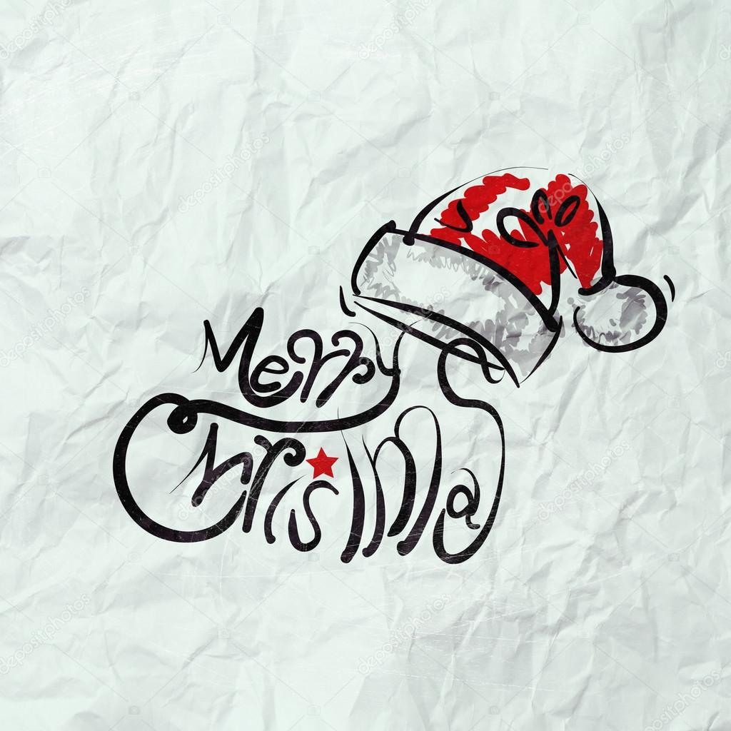 Christmas Card with Santa Claus hand drawn on wrinkled paper — Stock ...