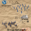 Hand drawing diagram of social network structure with crumpled r — ストック写真