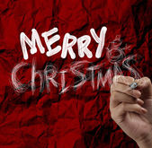 Hand draw Christmas Card on wrinkled paper — Stock Photo