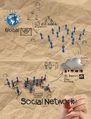Diagrama de la estructura de la red social con r arrugado de dibujo a mano — Foto de Stock