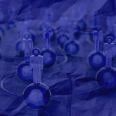 3d blue human social network and leadership — Stock Photo