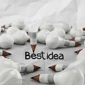Drawing idea pencil and light bulb concept creative — Stock Photo