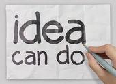 Hand writting idea can do — Stock Photo