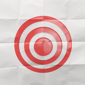 Pencil lightbulb draw rope open wrinkled paper show target symbo — Stock Photo
