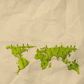 Crumpled paper as social network structure on wrinkled paper — Stock Photo