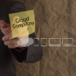Businessman hand point cloud computing on sticky note with icons — Stock Photo