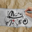 Hand draws Christmas Card on wrinkled paper — Stock Photo #33313859