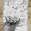 Hand drawn  business strategy splash on crumpled paper with tear — Foto Stock