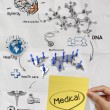 Medical network on sticky note crumpled paper from recycle envel — Stock Photo