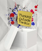 Thinking outside the box and splash colors crumpled paper as con — Stock Photo