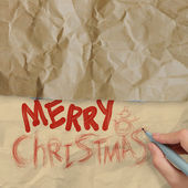 Hand draws Christmas Card on wrinkled paper — Photo