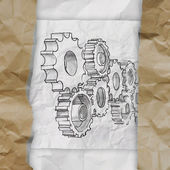 Hand drawn gear to success concept on crumpled paper — Stock Photo