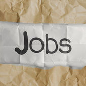 Hand draws jobs words on crumpled paper — Stock Photo