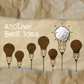 Hand drawn another idea light bulb with recycle envelope backgro — Stock Photo