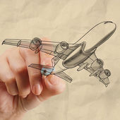 Hand drawing airplane with crumpled paper background — Stock Photo