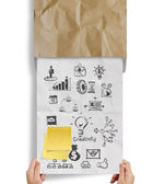 Great jobs words sticky note with business strategy crumpled env — Stock Photo
