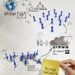 Hand holding diagram of social network structure  — Stockfoto
