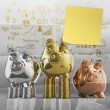 Smart investment with sticky note on winner piggy bank as concep — Stock Photo #33329983