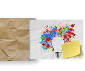 Blank sticky note with splash colors lightbulb crumpled envelope — Stock Photo