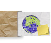 Save energy with sticky note and sketch illustration of planet earth — Stock Photo