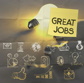 Great jobs words sticky note on lightbulb crumpled paper — Stock Photo