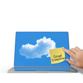 Cloud Computing words on sticky note with laptop computer — Stock Photo