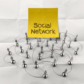 Hand holding sticky note social network 3d stainless human social network — Stock Photo