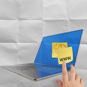 Www. written on sticky note with computer laptop — Stock Photo