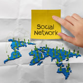 Sticky note social network 3d stainless human social network — Stock Photo