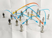 3d stainless human social network and leadership on crumpled pap — Stock Photo