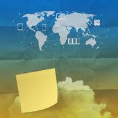 Облачных вычислений на записки с мятой бумаги — Стоковое фото