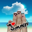 Finger family travels at the beach and we love summer word — Stock Photo