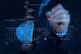 Engineer draws an electronic single line schematic — Stock Photo