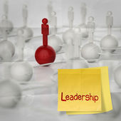 Sticky note and leadership 3d human social network on crumple — Stock Photo
