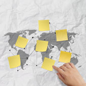 Hand pushing sticky note social network icon — Stock Photo
