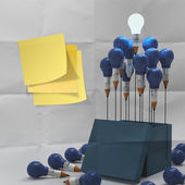 Thinking outside the box on sticky note and pencil lightbilb a — Stock Photo