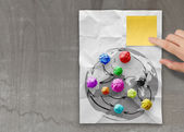 Colors crumpled paper as social network structure — Stock Photo