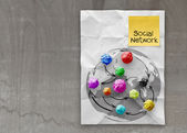 Colors crumpled paper as social network structure — Zdjęcie stockowe