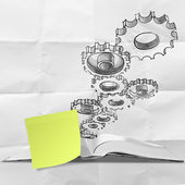 Hand drawn gear cog with blank sticky note on crumpled paper — Foto de Stock