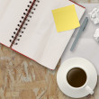 Workspace with coffee cup in composition as concept — Stock Photo