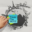 Crumpled paper and traveling around the world as vintage style c — Stock Photo #34946425