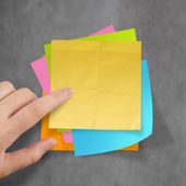 Great job sticky notes on recycle crumpled paper background as c — Stock Photo