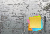 Blank sticky note paper on texture desk as concept — Stock Photo